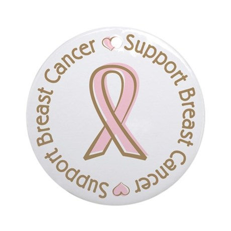 Support Breast Cancer Ornament (Round)