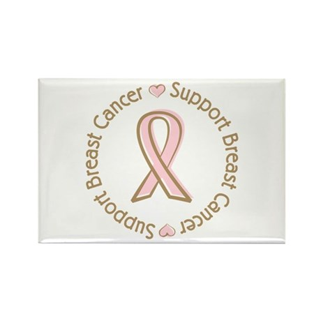 Support Breast Cancer Rectangle Magnet (10 pack)