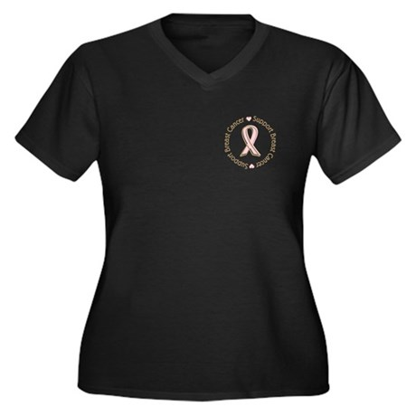 Support Breast Cancer Women's Plus Size V-Neck Dar