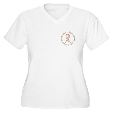 Support Breast Cancer Women's Plus Size V-Neck T-S
