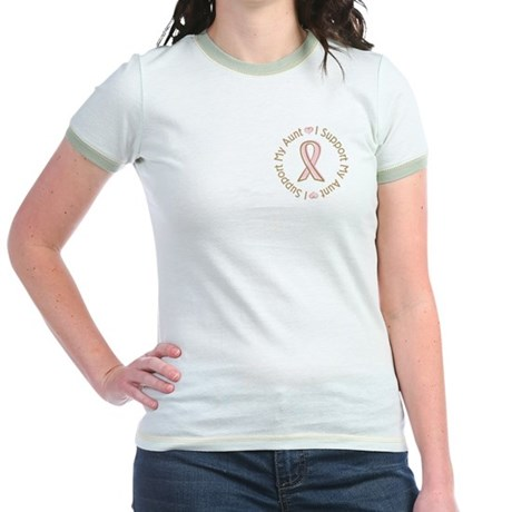 Breast Cancer Support Aunt Jr. Ringer T-Shirt