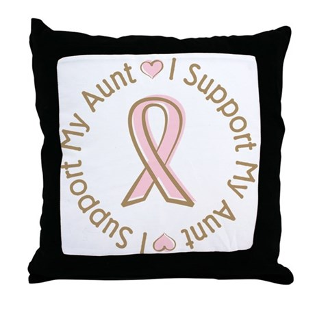 Breast Cancer Support Aunt Throw Pillow