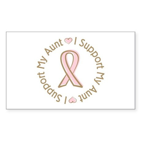Breast Cancer Support Aunt Rectangle Sticker 50 p