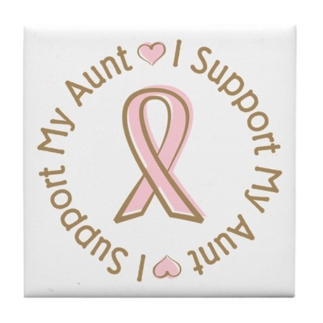 Breast Cancer Support Aunt Tile Coaster
