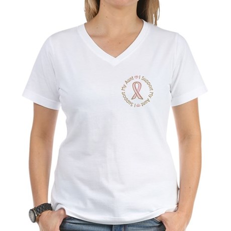 Breast Cancer Support Aunt Women's V-Neck T-Shirt