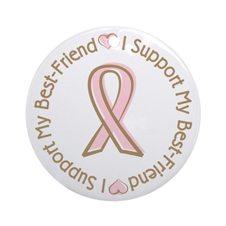 Breast Cancer Support Best Friend Ornament (Round)
