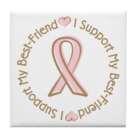 Breast Cancer Support Best Friend Tile Coaster