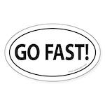 Go Fast Auto Bumper Oval Sticker -White