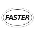 Faster Auto Bumper Oval Sticker -White