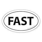 Fast Auto Bumper Oval Sticker -White