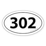302 Auto Bumper Oval Sticker -White