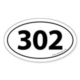 302 Auto Bumper Oval Sticker -White