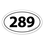 289 Auto Bumper Oval Sticker -White