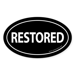 Restored Auto Bumper Oval Sticker -Black