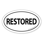 Restored Auto Bumper Oval Sticker -White