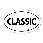 Classic Car Bumper Oval Sticker -White