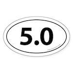 5.0 Auto Bumper Oval Sticker -White