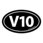 V10: 10 Cylinder Bumper Oval Sticker -Black