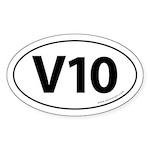V10: 10 Cylinder Bumper Oval Sticker -White