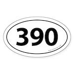 390 Auto Bumper Oval Sticker -White