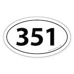 351 Auto Bumper Oval Sticker -White