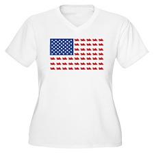 Cruiser Motorcycle Patriotic Flag T-Shirt