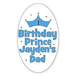 1st Birthday Prince Jayden's Oval Sticker