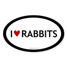 I love rabbits oval sticker