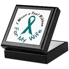 Teal Ribbon For My Wife 4 Keepsake Box