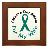 Teal Ribbon For My Wife 4 Framed Tile