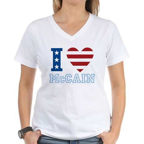 I Love McCain Women's V-Neck T-Shirt