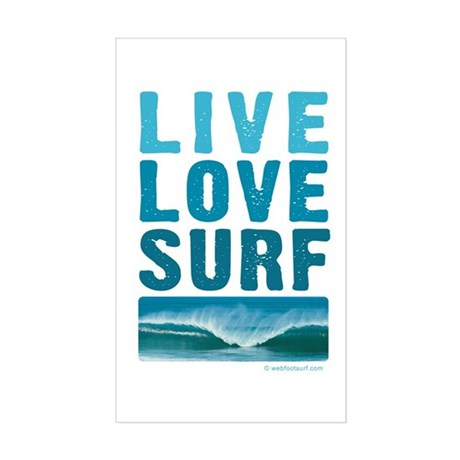 Live, Love, Surf - Rectangle Sticker