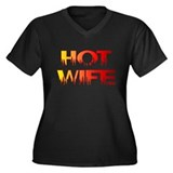 Hot Wife Women's Plus Size V-Neck Dark T-Shirt