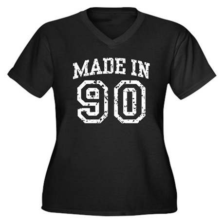 Made in 90 Women's Plus Size V-Neck Dark T-Shirt