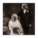 Bulldog VINTAGE WEDDING Tile Coaster