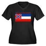 Mississippi State Flag Women's Plus Size V-Neck Da