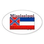 Mississippi State Flag Oval Sticker