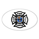 Firefighters Think Green Oval Sticker (10 pk)