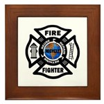 Firefighters Think Green Framed Tile
