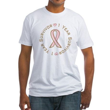 1 Year Breast Cancer Survivor Fitted T-Shirt