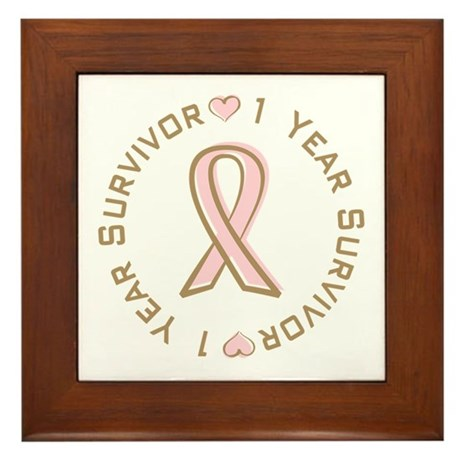 1 Year Breast Cancer Survivor Framed Tile