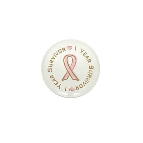 1 Year Breast Cancer Survivor Mini Button