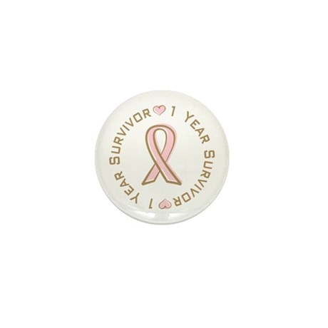 1 Year Breast Cancer Survivor Mini Button (100 pac