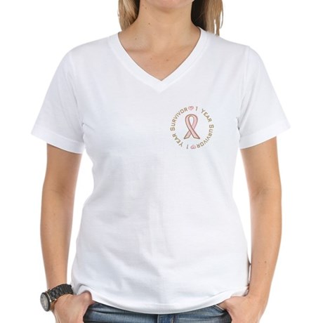 1 Year Breast Cancer Survivor Women's V-Neck T-Shi