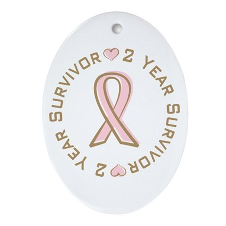 2 Year Breast Cancer Survivor Oval Ornament