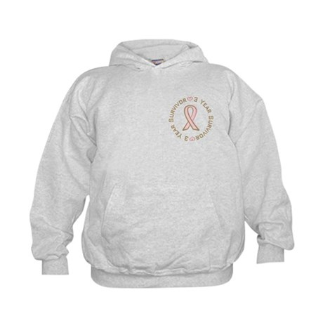 3 Year Breast Cancer Survivor Kids Hoodie