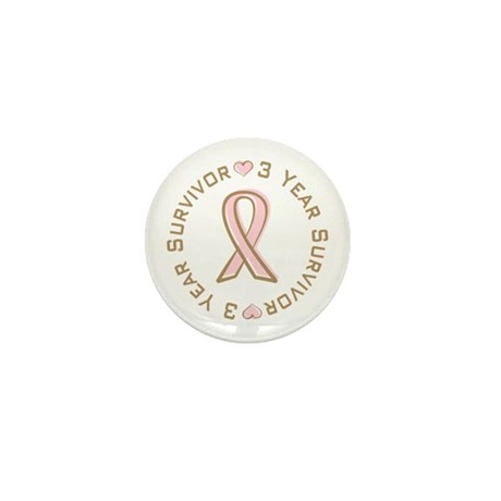 3 Year Breast Cancer Survivor Mini Button (100 pac