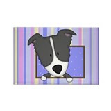 Cartoon Border Collie Rectangle Magnet