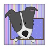 Cartoon Border Collie Tile Coaster