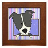 Cartoon Border Collie Framed Tile